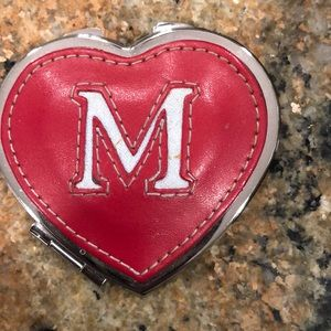 M red leather mirror compact